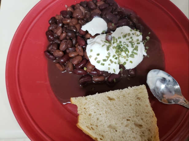 Beans, sour cream, chives and artisan bread
