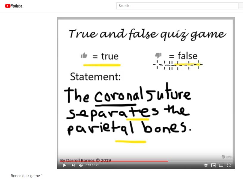 Bones True and False quiz game on YouTube – darrellbarnes blog