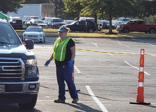 Amanda Champion directing traffic