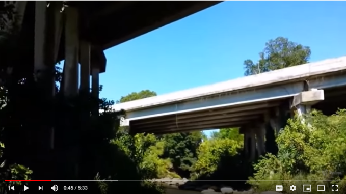 Fossil creekbed under highway 45